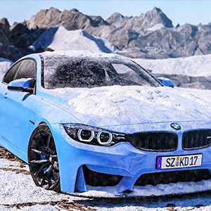 3D CGI Car Animation of a BMW M4 in a very dark and snow environment