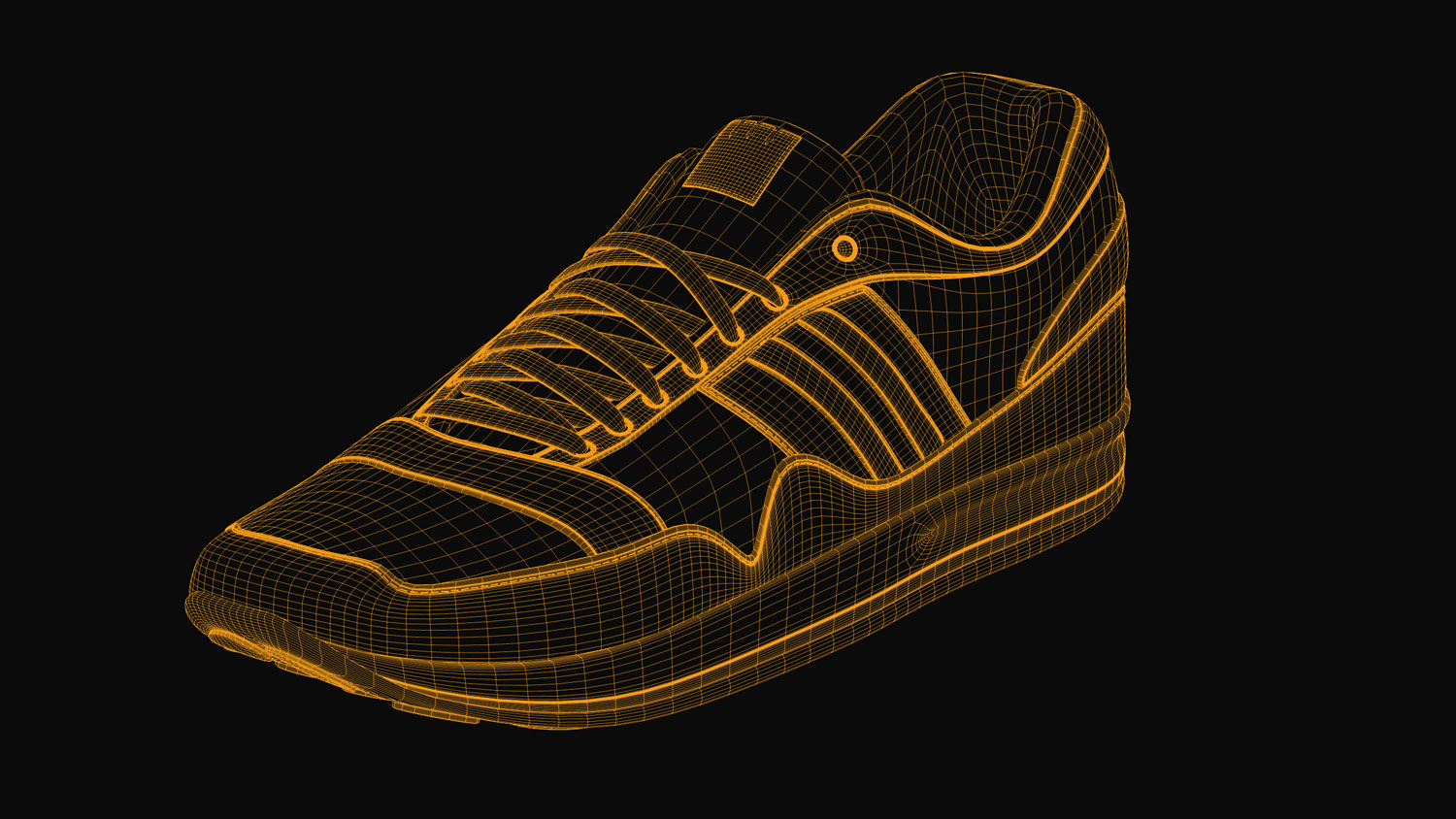 Sport Schuh / Sports Shoe 3d-render wireframe 1