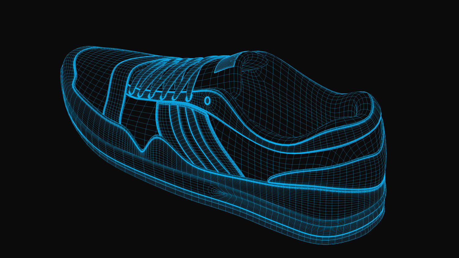 Sport Schuh / Sports Shoe 3d-render wireframe 2